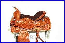 16 Western Classic Barrel Rodeo Show Horse Trail Tooled Leather Saddle Tack