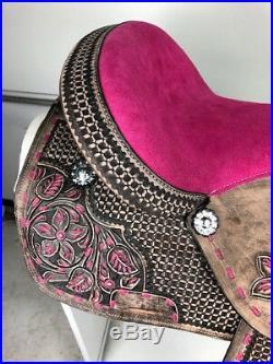 16 Western Leather Barrel Pleasure Trail Black Pink Horse Saddle Set Tack