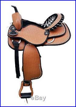 16 Western Tan Synthetic Leather Barrel Spot Studded Black Seat Saddle