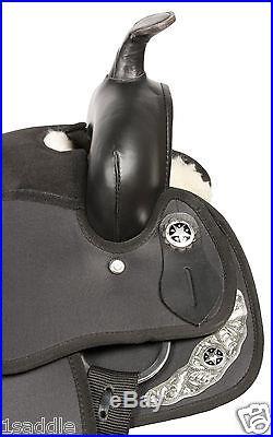 17 BLACK GAITED SYNTHETIC CORDURA PLEASURE TRAIL WESTERN HORSE SADDLE TACK PKG