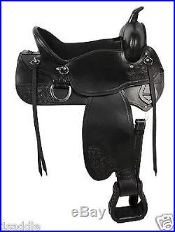 17 BLACK GAITED WESTERN LEATHER ENDURANCE PLEASURE TRAIL HORSE SADDLE TACK