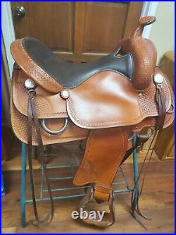 17 Crates Handcrafted Hand Tooled Leather Trail / Western Horse Saddle 2170-5