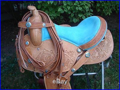 17 HNP Med Oil Blue Barrel Racer HORSE Western Tx Star concho horse SADDLE SET