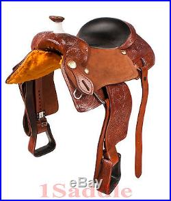 17 LEATHER RANCH WORK ROPING ROPER COWBOY WESTERN TRAIL HORSE SADDLE TACK PKG