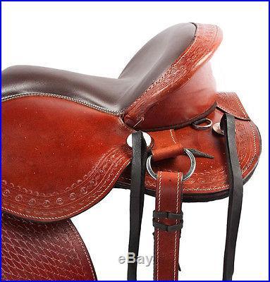 17 Leather Treeless Draft Cross Barrel Horse Trail Western Pleasure Saddle Tack