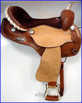 17 Lite Brown BARREL Western SHOW BLING CRYSTAL horse SADDLE Full QH CLOSEOUT