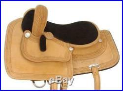 18 Inch Western Side Saddle Basketweave Tooled Border Light Oil Leather