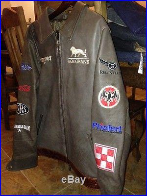2013 Bobby Mote NFR PRCA Rodeo Cowboy Qualifier Leather Jacket Bareback Rider