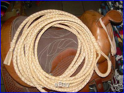 38 foot long 6 PLAIT Western Rodeo LEATHER SADDLE RIATA ROPE LASSO LARIAT
