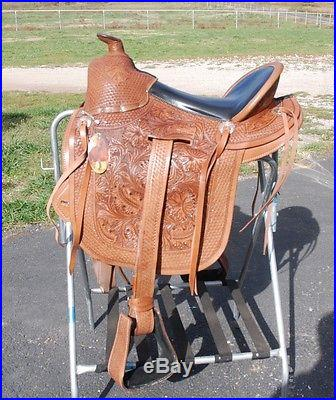 4030 New 16 leather gaited horse trail saddle full hand tooling beauty
