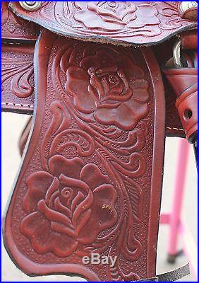 8 Kids Burgundy Western Leather Mini Pony Trail Saddle-ON SALE-GREAT LOW PRICE