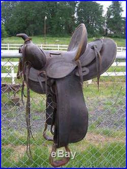 ANTIQUE VINTAGE KUCK Ranch Bronc Loop Seat Saddle turn of the