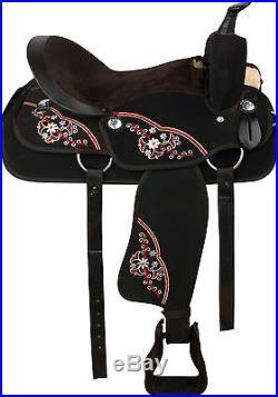 BEAUTIFUL BLACK 16 17 WESTERN SYNTHETIC PLEASURE TRAIL HORSE SADDLE TACK SET