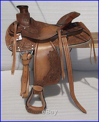 BIG HORN 16 LEATHER WESTERN SADDLE WADE ROPING PLEASURE RANCH SADDLE