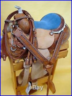 BLUE Bling Heavy Duty 14 Show saddle Barrel Racer Western Trail Headstall BP 4p