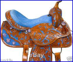 BLUE WESTERN BARREL SADDLE 15 16 RACING PLEASURE TRAIL LEATHER HORSE SHOW TACK