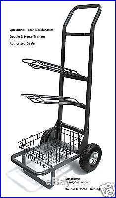 Barn & Horse Trailer 2 Rack Two Wheel Metal Saddle Cart