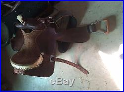 Barrel Saddle 15 inch/ Action Company /Aluminum Stirrups! Girth/Billet/Latigo