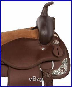Barrel Saddle 16 17 18 in Pleasure Trail Western Horse Brown Tack Free Pad