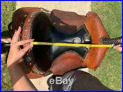 Barrel Saddle Lynn McKenzie Barrel 15 Double J, Turquoise Cross, Black Seat