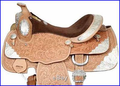 Beautiful New 16seat Silver Show Saddle-Western Pleasure-Light-Fully Tooled nr
