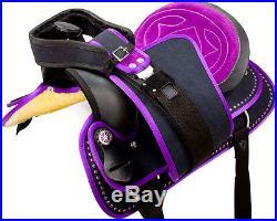 Beautiful Purple Western Pleasure Trail Cordura Horse Saddle Tack 16 17 18