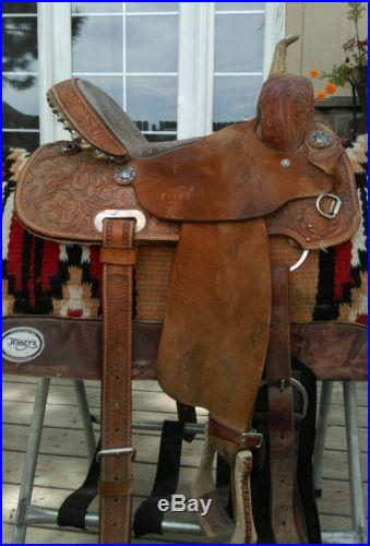 Billy Cook Barrel Saddle, Pistol Conchos, 14 seat