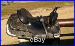 Black Circle Y Show Saddle with matching breast collar