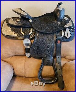 Black western show saddle