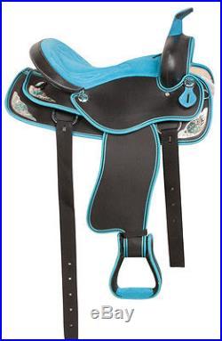 Blue Western Pleasure Trail Barrel Race Horse Saddle Free Tack 14 15 16 17 18