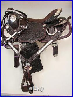 CLEARANCE! Dark Oil 14 Western Tooled Leather Show Saddle Suede Seat FREE Set