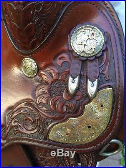 Circle Y 15 1/2-16 Western Show Saddle Set w Silver+Jewelers Bronze GORGEOUS