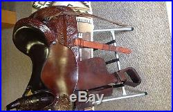 Circle Y Brown Tooled Leather Park & Trail Western Saddle 17