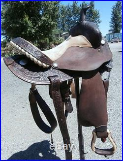Circle Y Connie Combs 14 in. Barrel Racing Saddle Silver Laced Cantle & Conchos