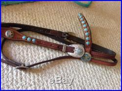 Circle Y Martha josey Barrel Saddle 14 Turqoise & Silver Breast Collar & Bridle