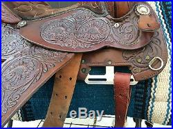 Circle Y Park & Trail 16 Custom Sunflower Tooled Leather Suede Western Saddle