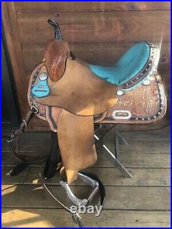 Circle Y Turquoise Ostrich Leather 15 inch Saddle