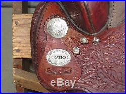 Crates Western Saddle 15 Seat Tooled, Silver, NO RESERVE