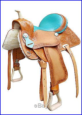 Custom Hand made Western Barrel Saddle Brand New 15 Inch with headstall & reins