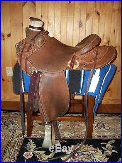 Custom Wade Ranch Saddle with 15 seat in Natural leather