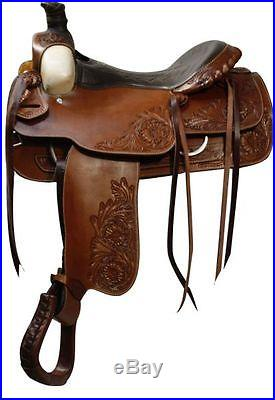 DOUBLE T WESTERN ROPING TRAIL WORK PLEASURE HORSE SADDLE 16 FULL QH BARS
