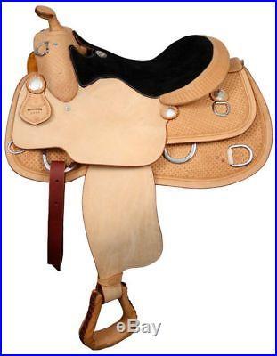 DOUBLE T WESTERN TRAINING EQUITATION WORK HORSE SADDLE 17 FULL QH BARS
