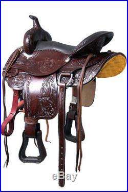 Dark Brown 16 in Western Saddle Pleasure Trail Leather Horse Tack Set U-7-16