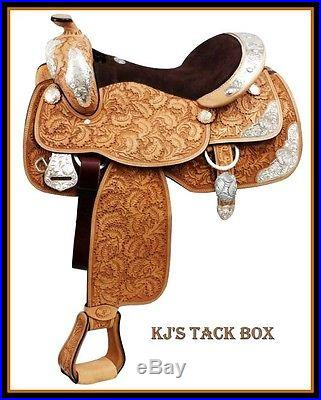 Double T 15or 16 SILVER Show Saddle Full QH Bars Tooled-Western PLEASURE