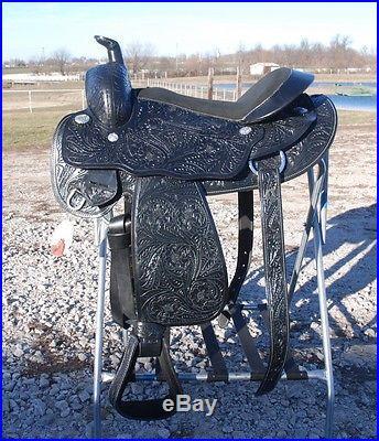 Full tooled 16 BLACK draft horse western riding saddle 10 gullet round skirt