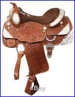 Fully Tooled Western Pleasure Silver Show Saddle 16 Medium Oil Leather SemiQHB