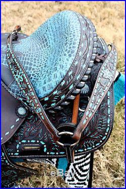 Horse Western Barrel Show Pleasure LEATHER SADDLE Bridle 50172