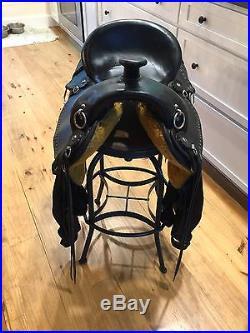Imus 4-Beat 16 black gaited trail saddle, Standard Tree