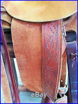 JC Martin WY Custom Wade Roping Ranch Horse Saddle Roughout with Bucking Rolls