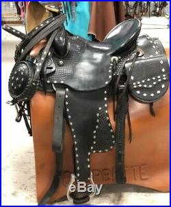 Longhorn 16 Black Parade Saddle withSaddle Bags, Headstall, Bit, Reins & Canteen